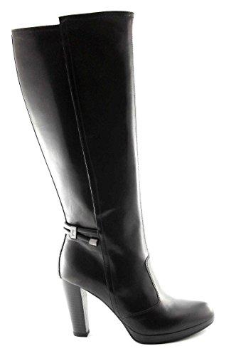 Nero Giardini 15956 Bottes Noires Femme Cuir Zip Talon Strings Noir