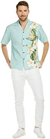 Made in Hawaii Men's Aloha Shirt Side Bird of Paradise Hibiscus Floral in W