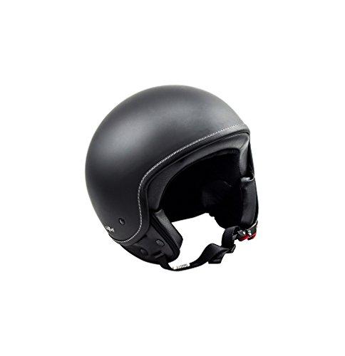 SOXON SP-301 Night Motorrad-Helm Roller-Helm Jet-Helm Bobber Scooter-Helm Pilot Cruiser Vintage Mofa Chopper Helmet Biker Vespa-Helm Retro, ECE zertifiziert, inkl. Stofftragetasche, Schwarz (Night), XL (61-62cm)