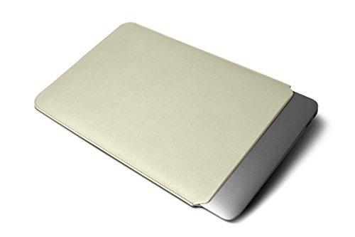 Lucrin - Housse pour MacBook Air 13 pouces - Cuir Lisse Blanc Cassé