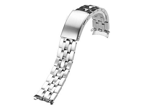 iStrap Metall-Armband 19mm Edelstahl massiv Glieder Gebogenes Ende für Tissot PRC 200