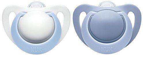 NUK 10175178 Genius Silikon-Schnuller, für zarte Neugeborene, 0-2 Monate, 2 Stück, Boy, blau