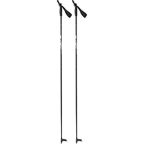 Tecno Pro Erwachsenen Langlaufstock Langlauf-Stock Active Alu XC schwarz grau, Länge:145