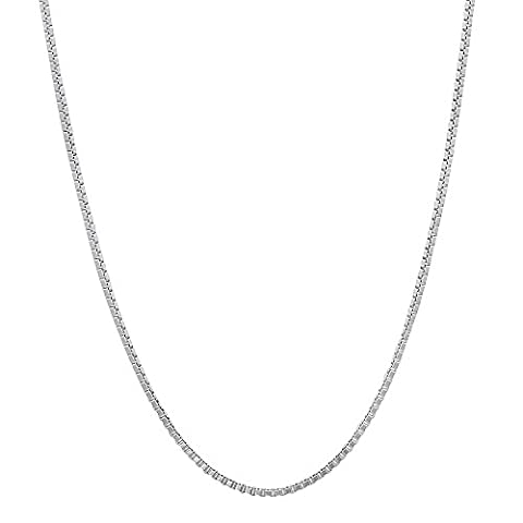 0.7mm Solid 925 Sterling Silver Box Chain Italian Crafted Necklace, 56 cm + Cleaning Cloth