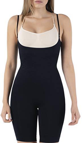 UnsichtBra Shapewear Damen Bauch Weg Body | Bauchweg Unterwäsche mit Korsett - Funktion | Bodyshaper für Frauen in Schw, weiß und beige (sw_2100)(XXL /52-58),Schw.