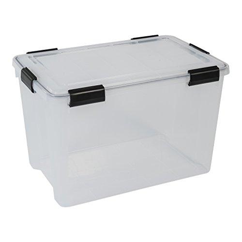 XXL Kunststoff Lagerbox mit Deckel, transparent, ca 70 Liter Volumen, Maße ca. 39 x 59 x 38 cm, mit Dichtungsring im Deckel für Nässe, Staub und Schmutz, TOP QUALITÄT! (Indoor Storage Box)