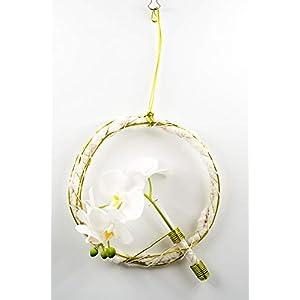 Kleiner filigraner Hängekranz mit weißen Phalaenopsis-florale Dekoration mit künstl.Orchideen