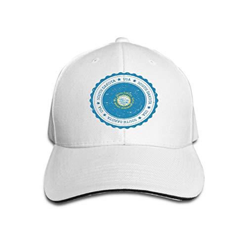 Cowboy Hat Fashion Baseball Cap for Men and Women South Dakota Flag Badge South Dakota Flag Badge Grunge Rubber Stamp South Dakota Flag Vintage tr