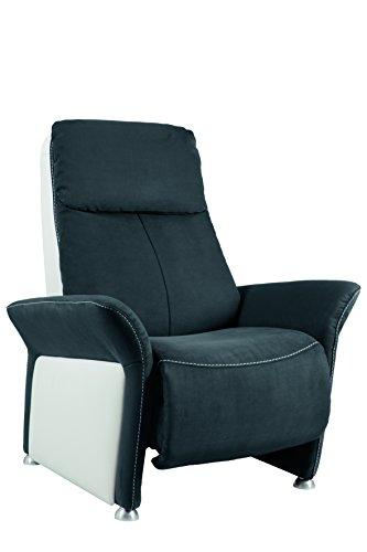 City Salon 3760272810444 Variance Fauteuil Manchette Porteuse Relax Manuel Microfibre/Cuir Anthracite/Blanc 89 x 169 x 112 cm