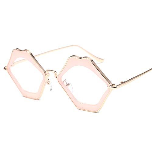 Yiph-Sunglass Sonnenbrillen Mode Fahren von Sonnenbrillen for Kleidung Ornamente Mundform Unregelmäßige Lady Classic Rimmed Sonnenbrille UV-Schutz Sonnenbrille für (Farbe : Powder Frame White Flat)