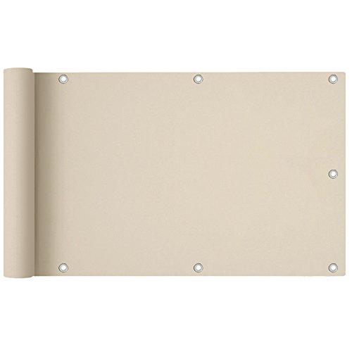 HENGMEI 90x600cm PVC Balkon Sichtschutz Creme Balkonbespannung Balkonverkleidung, Balkonsichtschutz Windschutz Wasserdicht Blickdicht (90x600cm,Creme)