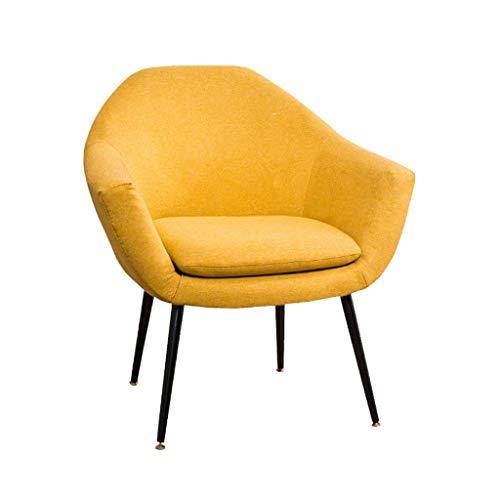 XFENG Konferenzraum Akzent Stuhl Mit Metallbeinen Sessel Einzelsofa Schlafzimmer Wohnzimmer Esszimmer Küche Rezeption Lounge Gepolsterter Stuhl Moderner Leinenstoff (Color : Yellow) -