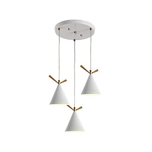 DAMAI STORE Weiß Schwarz 3 Lampen Einfache Deckenleuchte Runde 3 Farben Warmes Natürliches Licht Aluminium Eisen Kronleuchter Esszimmer Wohnzimmer Restaurant Café LED E27 (Farbe : White) -