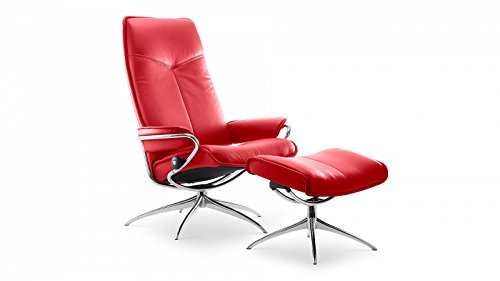 Stressless® City Sessel mit Hocker (M) High back Rot günstig