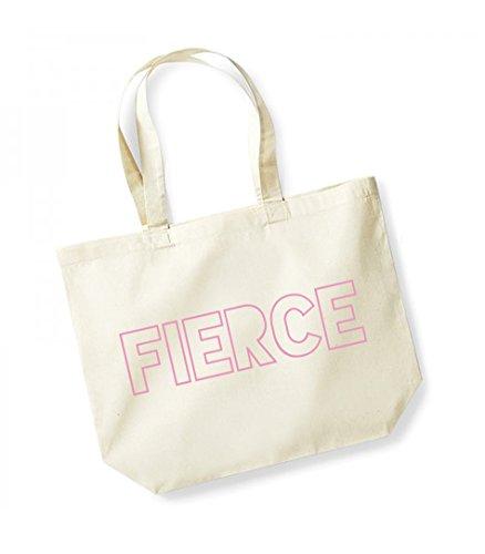 Fierce- Large Canvas Fun Slogan Tote Bag Natural/Pink