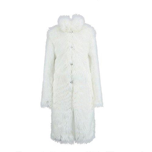 TEBAISE Pelzmantel Lang Kunst Felljacke Herren Schwarz Weiß Wind Coat Winterjacke Mantel Kunstpelz Lange Jacke Faux Fur