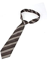 143cmx10cm Brun Imprimé Rayures Polyester Réglable Cravate Cravate