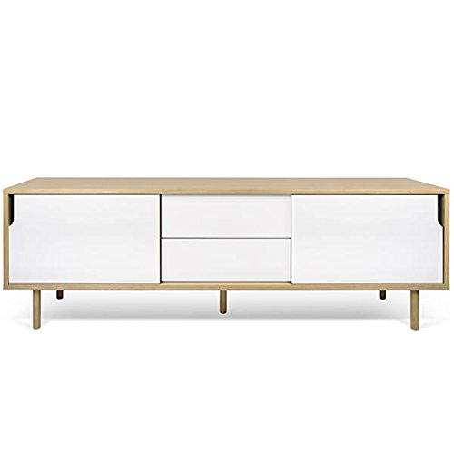 DANN, buffets à portes coulissantes, avec ou sans tiroirs - DANN 201, pieds bois, Structure en chêne (placage), portes en blanc mat