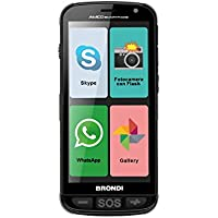 Brondi Amico Smartphone, telefono per anziani con app preinstallate, tasto SOS, tasti grandi, dual SIM, volume alto