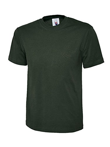 Plain Classic T-shirt Tee Top 100% Cotton Casual Leisure Sports Work UC301 [Bottle Green][4XL]