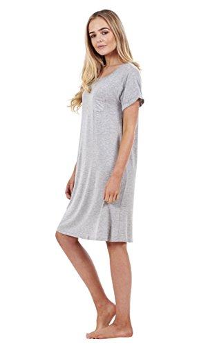 Chemise de nuit femme unie très douce à manches courtes, nuisette Gris