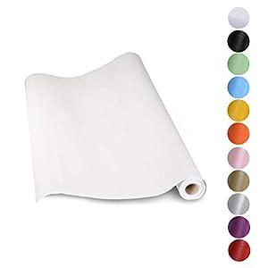KINLO Aufkleber Küchenschränke weiß 61x500cm aus hochwertigem PVC Tapeten Küche Klebefolie Möbel wasserfest Aufkleber für Schrank selbstklebende Folie Küchenfolie Dekofolie MIT GLITZER