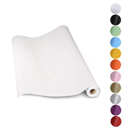 KINLO 5 * 0.61M Papier Peint Auto-Adhésif Blanc pour Armoire de Cuisine en PVC Imperméable Style Moderne Stickers Autocollant Muraux Étanche Décoration pour Chambre Salon Meuble