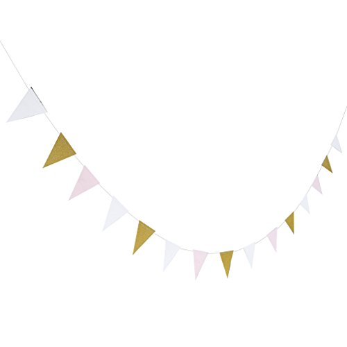 Rosa Dreieck (Blesiya Glitzer Girlande Wimpelketten Bunting Banner Dreieck Fahnenketten Deko - Rosa Weiß Gold)