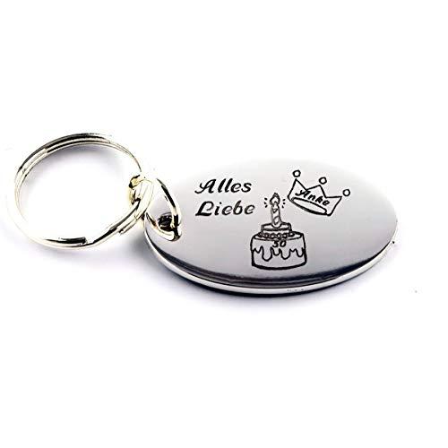 Lexie's Schlüsselanhänger oval aus Metall graviert mit Ihrem Wunschtext/Wunschmotiv (inkl.) ca. 55 x 35 mm