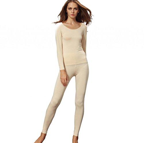 Liang Rou Damen U-Außchnitt Stretch dünnes Unterwäsche Set, Leggings und Langarmshirt (Jacquard Rib Damen)