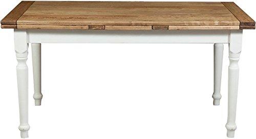 Tavolo allungabile Country in legno massello di tiglio con struttura bianca anticata e piano finitura naturale 160x90x80 cm