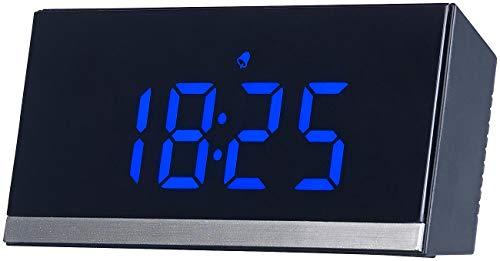 infactory LED Funkuhr: Dimmbare Funk-LED-Tischuhr, Wecker und Temperaturanzeige, schwarz/blau (LED Funkwecker)
