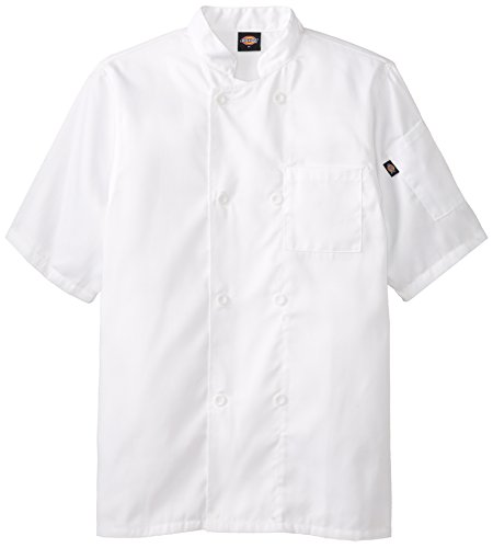 Dickies Occupational Workwear DCP124WHT Spun Polyester 8-Button Short Sleeve Chef Coat with Reversible Closure, White Fur Reversible Coat