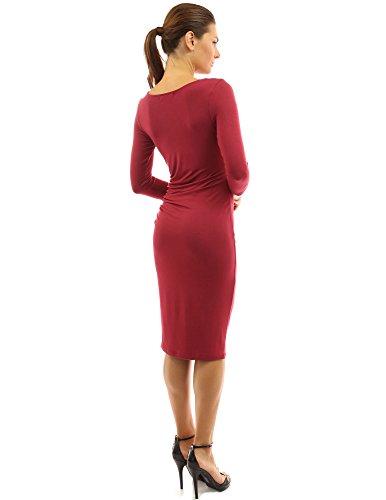 PattyBoutik femmes robe mi-longue plissée à col bénitier à manches 3/4 longue rouge foncé