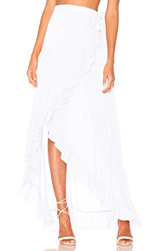 L-Peach Donna Abito Copricostumi Parei per Costume da Bagno per Spiaggia Bikini Cover Up Bianco