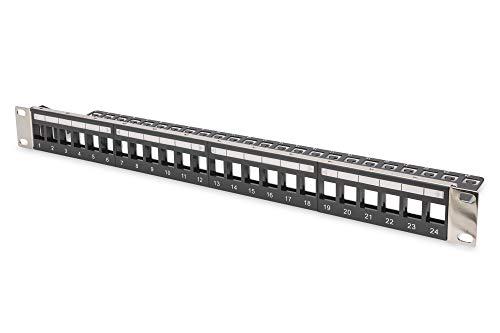 DIGITUS Patch-Panel Modular - 24 Ports - 1HE - Logofelder - Geschirmt - Für Keystone-Module - 19 Zoll Rack - Schwarz (Jack Jacobs)