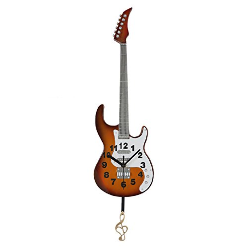 Giftgarden Reloj de pared de guitarra eléctrica reloj de péndulo clásico