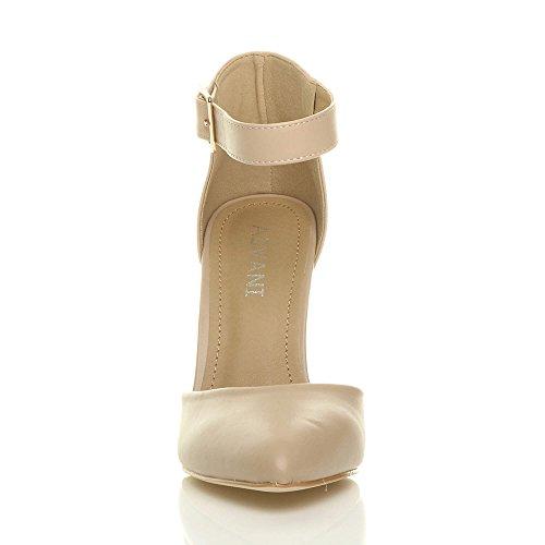 Donna tacco alto blocco cinturino caviglia fibbia punta décolleté scarpe taglia Ecrù opaco