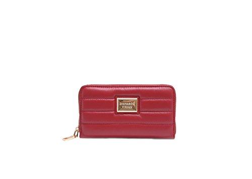 JustGlam - Portafoglio borsellino in simil pelle con lampo per signora giovane donna made in italy idea regalo diversi scomparti art dfx788-3 / rosso