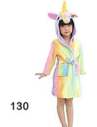 Oplon Niños cómodos y Suaves de Dibujos Animados con Capucha Albornoz Fleece Loungewear Ropa de Dormir