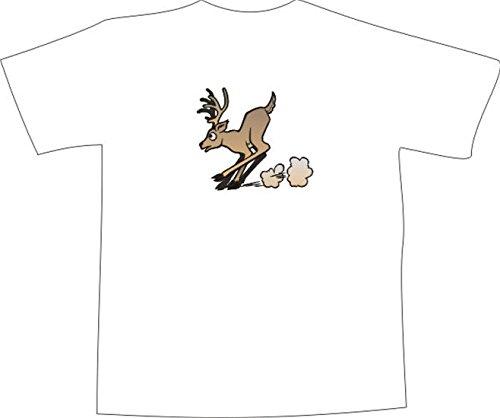 T-Shirt E809 Schönes T-Shirt mit farbigem Brustaufdruck - Logo / Grafik - Comic Design - kleiner Rehbock bremst ab Mehrfarbig