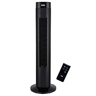 ANSIO Tower Fan 30-inch with Remote For Home and Office, 7.5 Hour Timer, 3 Speed Oscillating Cooling Fan with 2 Year Warranty - Black