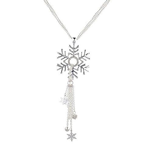LUX Zubehör Silvertone Weihnachten Urlaub Schneeflocke Cluster Halskette Quaste