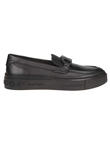 cc7560b568f Salvatore Ferragamo Hombre 709203 Negro Cuero Zapatillas Slip-On