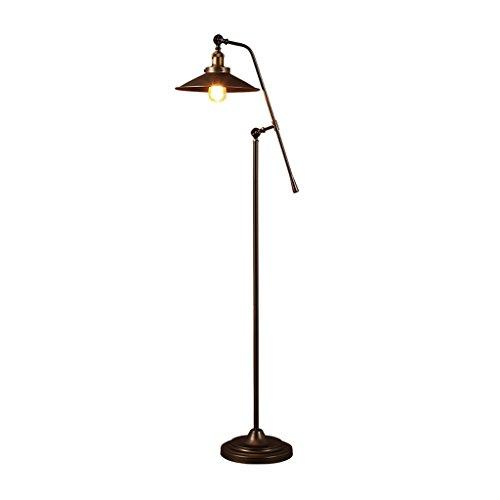 LOFAMI Vintage Stehlampe langen Arm höhenverstellbar Standlicht, E27 Metall Lampe Boden Licht für Wohnzimmer, Schlafzimmer, Büro, H118 × D30CM (Messing Antik Boden Leselampen)
