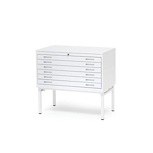 AJ Produkter AB 105731 Planschrank DIN A1 mit 6 Laden, Top: Stahl Weiß