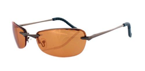 Rahmenlose Sonnenbrille mit Flexbügeln aus Metall orange spiegelnd bronce