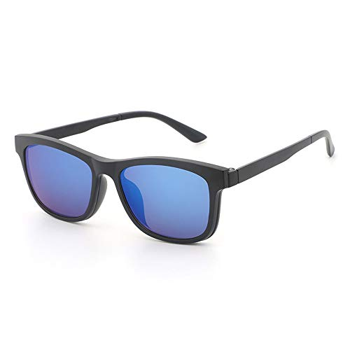 Herren Sonnenbrillen Gläser Polarisierte Sonnenbrillen Spiegelbrillen Magnet Sonnenbrillen Magnetclips Nachtsicht Myopie LTJHJD (Color : Blau, Size : Kostenlos)
