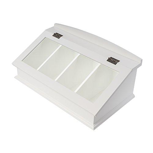 elbmöbel Besteck-Kasten mit Glasdeckel Holz, weiß, Kapselspender für viele Kapseln (Kaffee-spender Antike)
