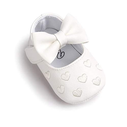 Auxma Baby schuhe mädchen Bowknot-lederner Schuh-Turnschuh Anti-Rutsch weiches Solekleinkind für 0-18 Monate (12(6-12M), Weiß)